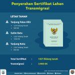 7.021 Sertifikat Warga Transmigrasi Siap Dibagikan Diagendakan akan Diserahkan oleh Menteri Desa dan PDTT