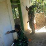 Satgas TMMD Kodim 1424 Sinjai Lakukan Pengecatan Mesjid Nurul Ardi Dusun Bulo
