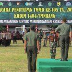 TMMD KE - 105 Kodim 1404/Pinrang  di Tutup oleh  Pangdam XIV/ Hasanuddin