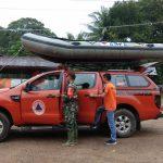 Bersama Satgas BPBD Babinsa Pantau Debit Air Antisipasi Bencana Banjir