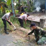 Babinsa Dan bhabinkamtibmas kompak  Bersama warga bersihkan tempat ibadah