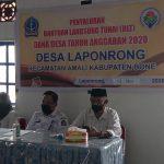 Kadis PMD hadiri penyaluran Bantuan langsung Tunai Dana Desa Anggaran 2020 Desa laponrong kabupaten Bone