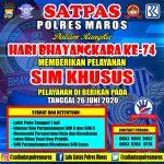 Jelang HUT 74 Bhayangkara Polri, Satlantas polres Maros ,berikan SIM khusus Warga yang Lahir 1 Juli