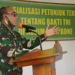 Pusterad Sosialisasikan Juknis Tentang Bakti TNI Kepada Personel Kodim 1407/Bone