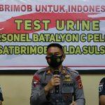 Begini Cara Brimob Bone awasi ketat personel dari zat Terlarang , tes Urine langsung Bid dokkes Polda