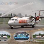Perdana Pesawat Jenis ATR Wings Air Mendarat di Bandara Udara Ewer